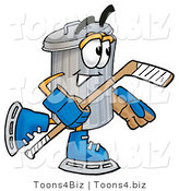 Illustration of a Cartoon Trash Can Mascot Playing Ice Hockey by Toons4Biz
