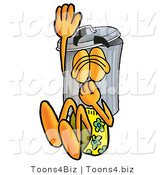 Illustration of a Cartoon Trash Can Mascot Plugging His Nose While Jumping into Water by Toons4Biz