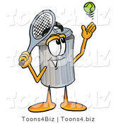 Illustration of a Cartoon Trash Can Mascot Preparing to Hit a Tennis Ball by Toons4Biz