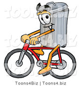 Illustration of a Cartoon Trash Can Mascot Riding a Bicycle by Toons4Biz