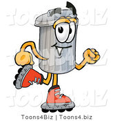 Illustration of a Cartoon Trash Can Mascot Roller Blading on Inline Skates by Toons4Biz