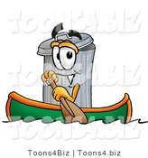 Illustration of a Cartoon Trash Can Mascot Rowing a Boat by Toons4Biz