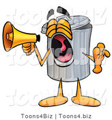 Illustration of a Cartoon Trash Can Mascot Screaming into a Megaphone by Toons4Biz