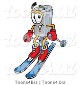 Illustration of a Cartoon Trash Can Mascot Skiing Downhill by Toons4Biz