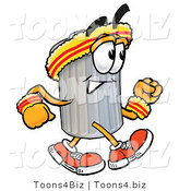 Illustration of a Cartoon Trash Can Mascot Speed Walking or Jogging by Toons4Biz