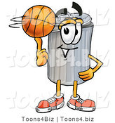 Illustration of a Cartoon Trash Can Mascot Spinning a Basketball on His Finger by Toons4Biz