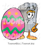 Illustration of a Cartoon Trash Can Mascot Standing Beside an Easter Egg by Toons4Biz