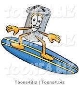 Illustration of a Cartoon Trash Can Mascot Surfing on a Blue and Yellow Surfboard by Toons4Biz