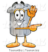 Illustration of a Cartoon Trash Can Mascot Waving and Pointing by Toons4Biz