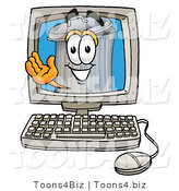 Illustration of a Cartoon Trash Can Mascot Waving from Inside a Computer Screen by Toons4Biz