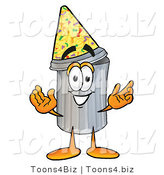 Illustration of a Cartoon Trash Can Mascot Wearing a Birthday Party Hat by Toons4Biz