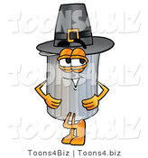 Illustration of a Cartoon Trash Can Mascot Wearing a Pilgrim Hat on Thanksgiving by Toons4Biz
