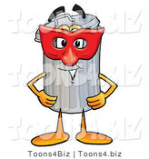 Illustration of a Cartoon Trash Can Mascot Wearing a Red Mask over His Face by Toons4Biz