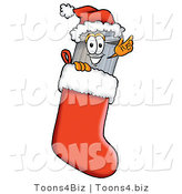 Illustration of a Cartoon Trash Can Mascot Wearing a Santa Hat Inside a Red Christmas Stocking by Toons4Biz