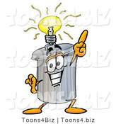 Illustration of a Cartoon Trash Can Mascot with a Bright Idea by Toons4Biz