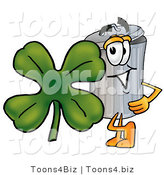 Illustration of a Cartoon Trash Can Mascot with a Green Four Leaf Clover on St Paddy's or St Patricks Day by Toons4Biz