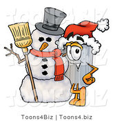 Illustration of a Cartoon Trash Can Mascot with a Snowman on Christmas by Toons4Biz