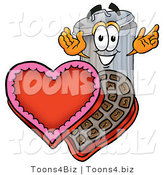 Illustration of a Cartoon Trash Can Mascot with an Open Box of Valentines Day Chocolate Candies by Toons4Biz
