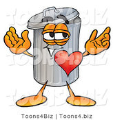 Illustration of a Cartoon Trash Can Mascot with His Heart Beating out of His Chest by Toons4Biz