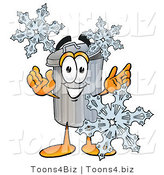 Illustration of a Cartoon Trash Can Mascot with Three Snowflakes in Winter by Toons4Biz