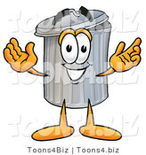 Illustration of a Cartoon Trash Can Mascot with Welcoming Open Arms by Toons4Biz