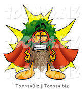Illustration of a Cartoon Tree Mascot Dressed As a Super Hero by Toons4Biz