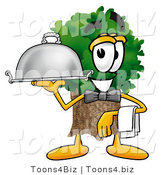 Illustration of a Cartoon Tree Mascot Dressed As a Waiter and Holding a Serving Platter by Toons4Biz