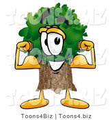 Illustration of a Cartoon Tree Mascot Flexing His Arm Muscles by Toons4Biz