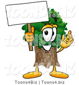 Illustration of a Cartoon Tree Mascot Holding a Blank Sign by Toons4Biz