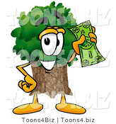 Illustration of a Cartoon Tree Mascot Holding a Dollar Bill by Toons4Biz