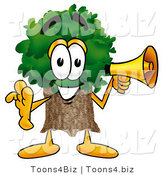 Illustration of a Cartoon Tree Mascot Holding a Megaphone by Toons4Biz