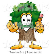 Illustration of a Cartoon Tree Mascot Holding a Pencil by Toons4Biz