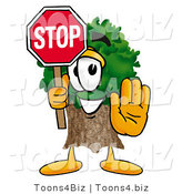 Illustration of a Cartoon Tree Mascot Holding a Stop Sign by Toons4Biz