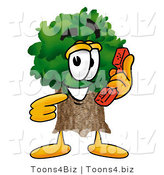 Illustration of a Cartoon Tree Mascot Holding a Telephone by Toons4Biz