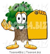 Illustration of a Cartoon Tree Mascot Holding a Yellow Sales Price Tag by Toons4Biz