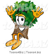 Illustration of a Cartoon Tree Mascot Jumping by Toons4Biz
