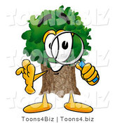 Illustration of a Cartoon Tree Mascot Looking Through a Magnifying Glass by Toons4Biz