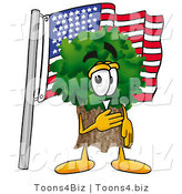 Illustration of a Cartoon Tree Mascot Pledging Allegiance to an American Flag by Toons4Biz