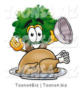 Illustration of a Cartoon Tree Mascot Serving a Thanksgiving Turkey on a Platter by Toons4Biz
