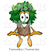 Illustration of a Cartoon Tree Mascot Sitting by Toons4Biz