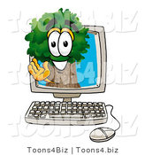 Illustration of a Cartoon Tree Mascot Waving from Inside a Computer Screen by Toons4Biz