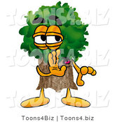 Illustration of a Cartoon Tree Mascot Whispering and Gossiping by Toons4Biz