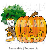 Illustration of a Cartoon Tree Mascot with a Carved Halloween Pumpkin by Toons4Biz