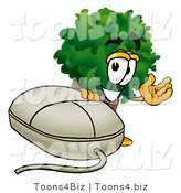 Illustration of a Cartoon Tree Mascot with a Computer Mouse by Toons4Biz