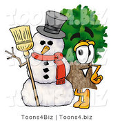 Illustration of a Cartoon Tree Mascot with a Snowman on Christmas by Toons4Biz