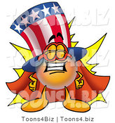 Illustration of a Cartoon Uncle Sam Mascot Dressed As a Super Hero by Toons4Biz