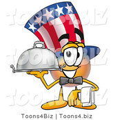 Illustration of a Cartoon Uncle Sam Mascot Dressed As a Waiter and Holding a Serving Platter by Toons4Biz