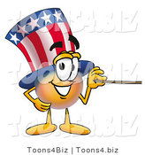 Illustration of a Cartoon Uncle Sam Mascot Holding a Pointer Stick by Toons4Biz