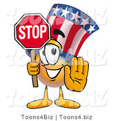 Illustration of a Cartoon Uncle Sam Mascot Holding a Stop Sign by Toons4Biz