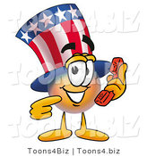 Illustration of a Cartoon Uncle Sam Mascot Holding a Telephone by Toons4Biz